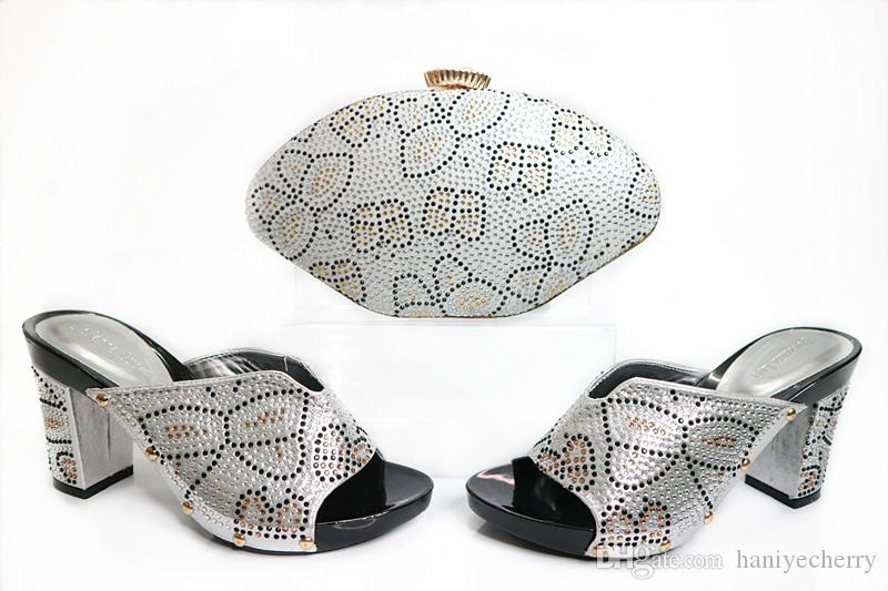 2017 Silver Shoes and Bag Set with Rhinestone Nigerian high quality italian shoes and purse set for wedding party