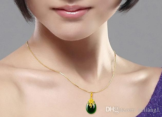 Gold set with green jade necklace The bubble-shaped orchids blooming flowers. Necklace pendant.