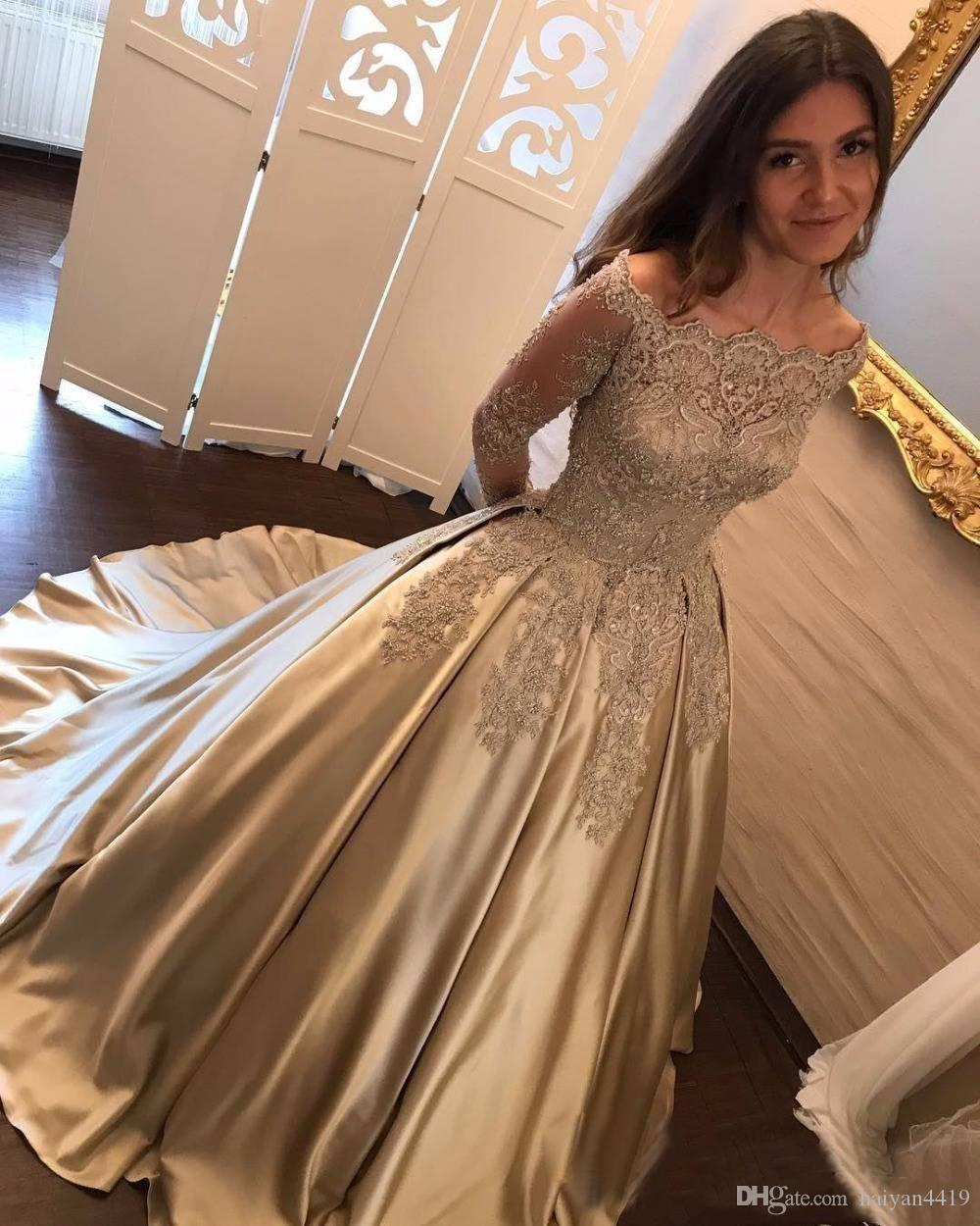 2017 Arabic New Gold Lace Appliques Beaded Prom Dresses Long Sleeves Off  Shoulder Satin Plus Size Pageant Party Dress Formal Evening Gowns Asian Prom  ... ebb1a8b93