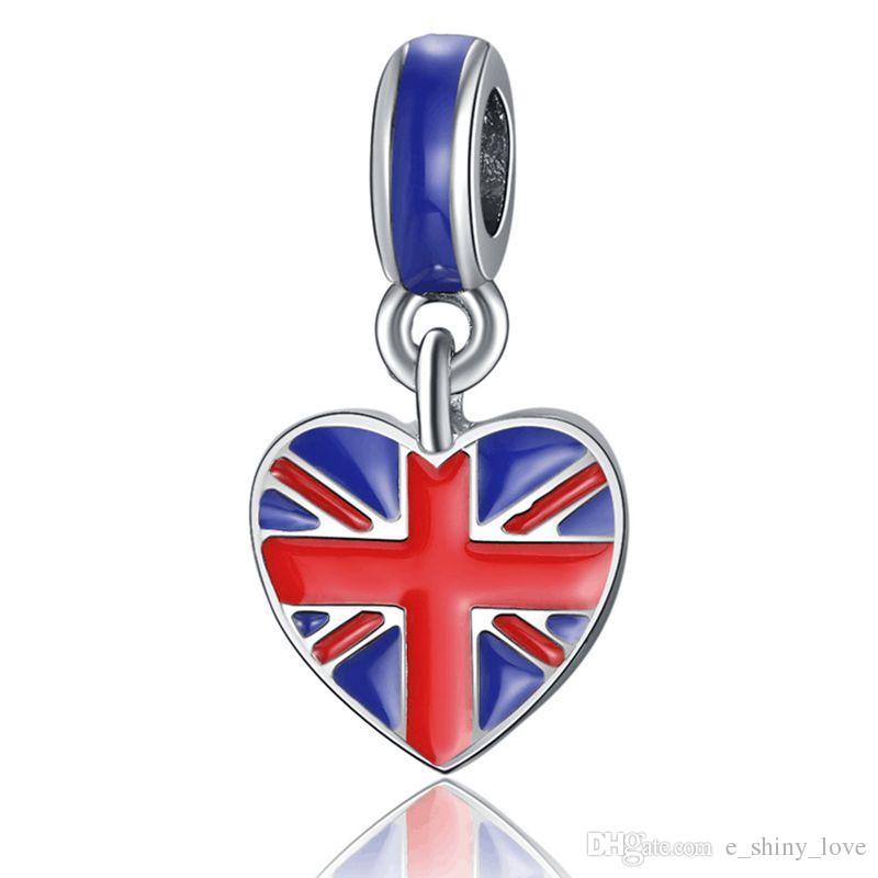 / Art und Weise versilbernes Emaille-Königreich-Flaggen-Entwurfs-Legierungsmetall DIY Charme passendes europäisches BraceletNecklace niedriger Preis PED142
