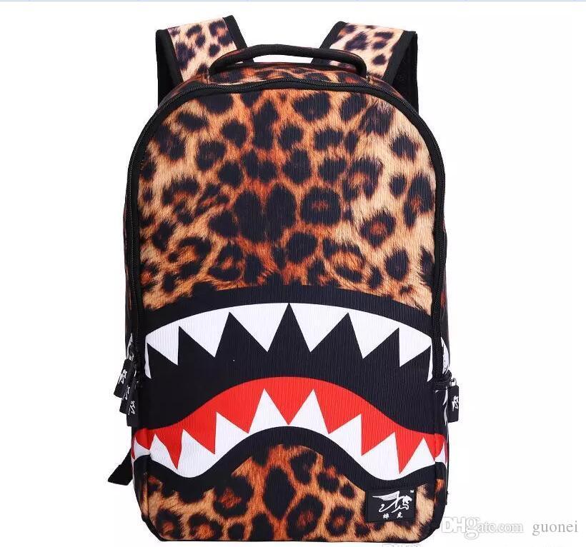 Nueva llegada estudiante de secundaria Shark Mouth Mochila hombres mujeres versátil bolso de escuela lienzo ocasional Famela bolso de hombro envío gratis