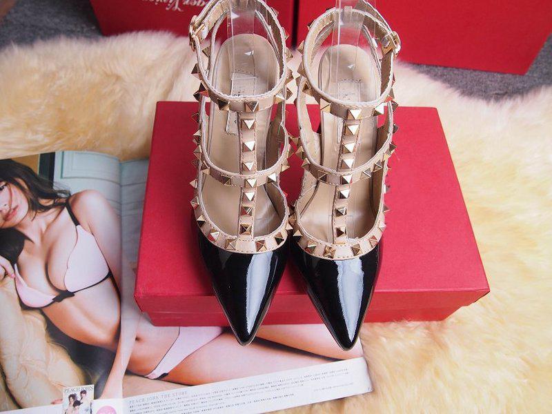 2017 مصمم النساء عالية الكعب حزب الأزياء المسامير الفتيات مثير أحذية مدببة أحذية الرقص أحذية الزفاف مزدوجة الأشرطة الصنادل