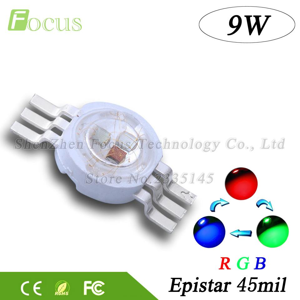 10pcs Lot High Power Led Chip 9w Rgb Cob Beads 3 Watt Red Green Blue6 Pin Full Color For Diy Professional Stage Light