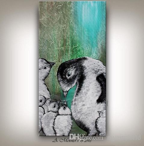 Compre Arte Enmarcado Del Pingüino,, Pintado A Mano Abstracto ...