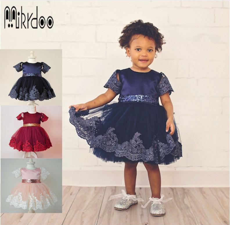 2017 Mikrdoo Baby Formal Lace Dress Balll Gown Princess Evening Dresses Summer Bow Sequin Waist Belt First Birthday Wedding Wear