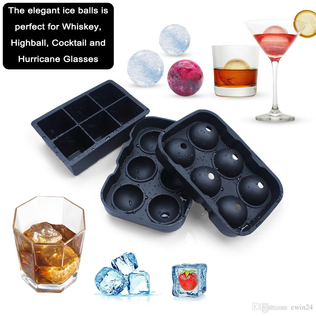 Kullanımlık Glacio Silikon Dev Buz Topu Makinesi Küp Kalıpları NO-Dökülen Buz Küpü Tepsisi 2 BPA Ücretsiz