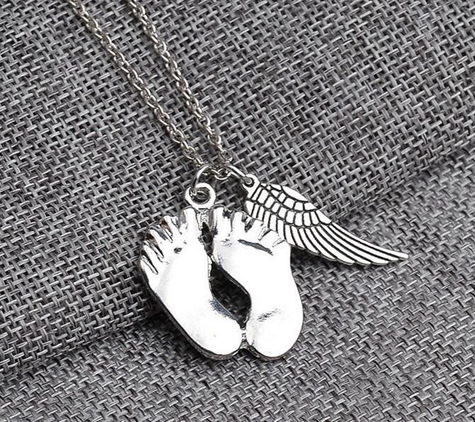 귀여운 작은 발 각도 날개 펜던트 목걸이 925 스털링 실버 사랑 보석 아기 목걸이 Chrismas 당신의 자식을위한 선물 크리스마스 선물