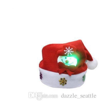 30*24Cm Christmas Decorations Luminous Cartoon Christmas Cap Gift For Kids Adult White Elk Snowman Santa Caus Hats Christmas Party Gifts