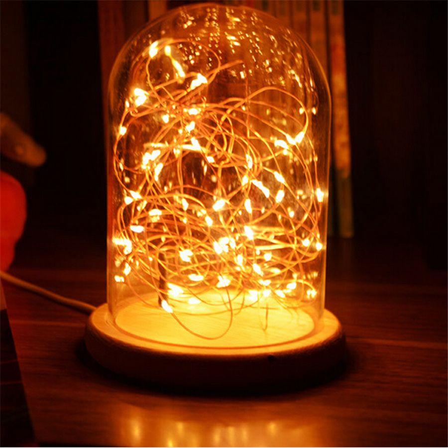 Modern Lamp LED Line Light Desk Lamp Glass Cover Wood Base Personality Decoration Bedside Light for Bedroom starry sky Table Light