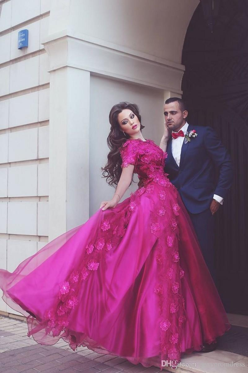 Fushia Said Muhammad Prom Dresses Lace Applique A Line Short Sleeve Evening Gowns Arabic Women Formal Party Dress