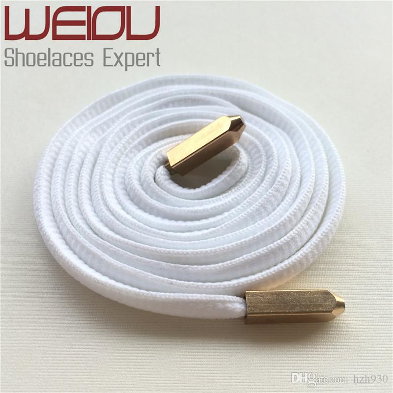 Weiou New fashion Oval Shoelaces Polyester Shoe Laces with Matt Gold Screw on Metal Aglets for boots Sneakers Solid Colors 120cm