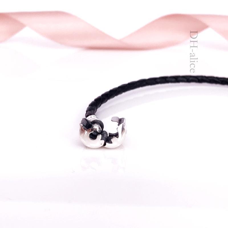 Otantik 925 Gümüş Anlar Tek Dokuma-Deri Bilezik Siyah Avrupa Pandora Stil Takı Charms Boncuk 590705CBK-S Uyar