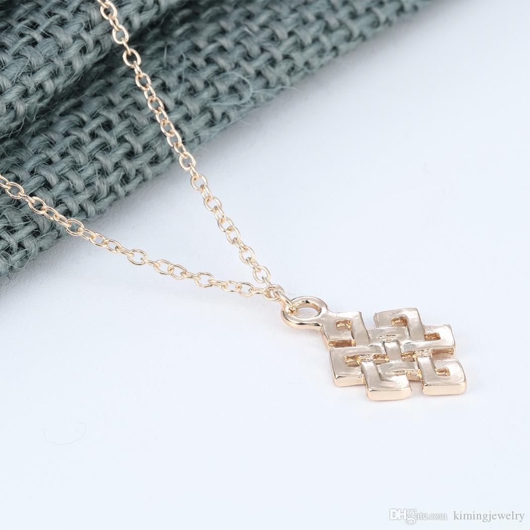 Square C-eltic Knot Pendant Necklace Silver Unique Irish Jewelry Infinity Women Necklaces & Pendants Christmas Gift Lead Free