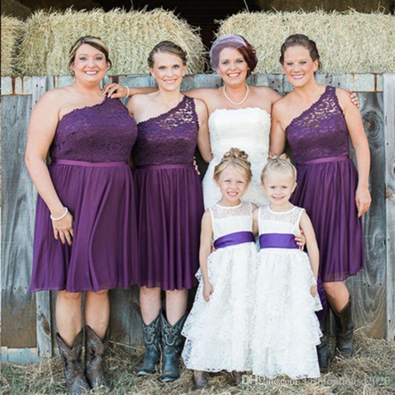 Elegant Purple Lace Short Bridesmaid Dresses One Shoulder Cheap Tea ...