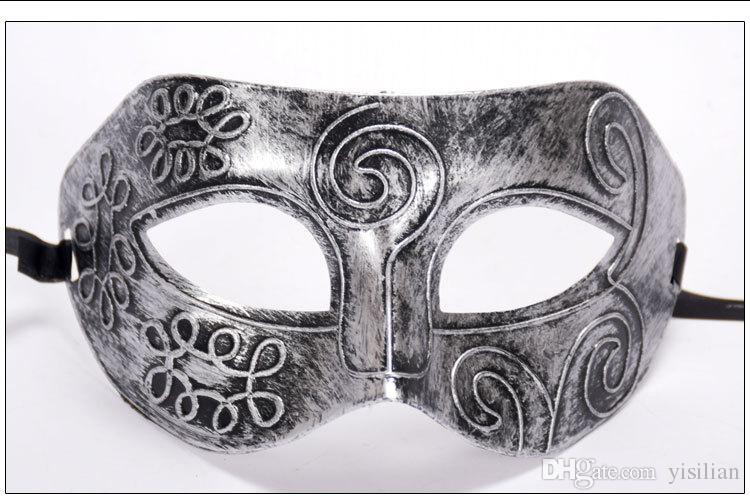 O melhor presente do Dia Das Bruxas de Prata de Ouro Máscara de Bronze Homens Meia Face Plana Esculpida Máscara PH021 misturar a ordem como suas necessidades