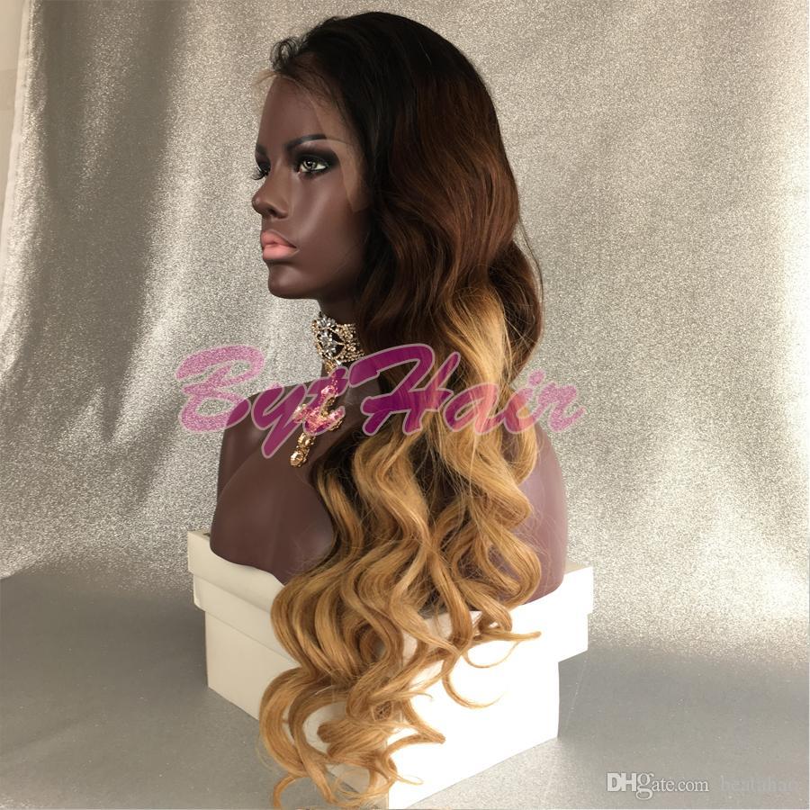 Bythair ombre color brasilianische menschliche haare spitze wig 3 tone farben glueless volle spitzeperücken lange lockige spitze frontperücken für schwarze frauen