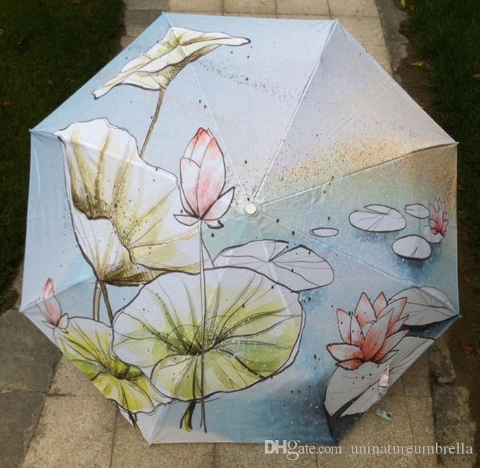Satın Al 2017 Yeni Yenilik öğeleri Yağlıboya Sanatlar şemsiye Lotus