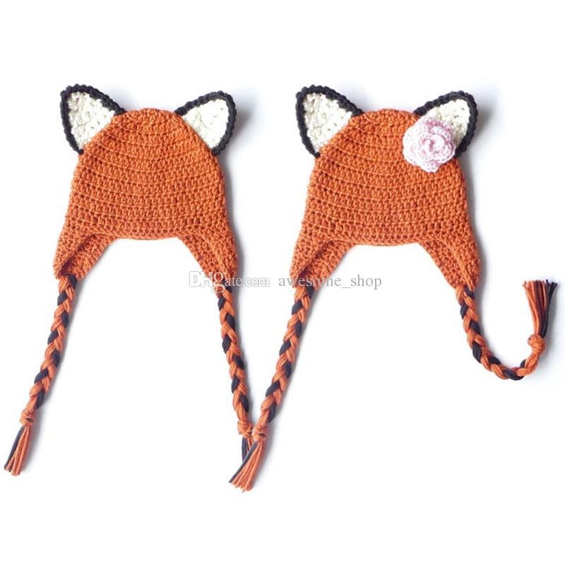 647493aebe3 2019 Cute Orange Fox Earflap Hat