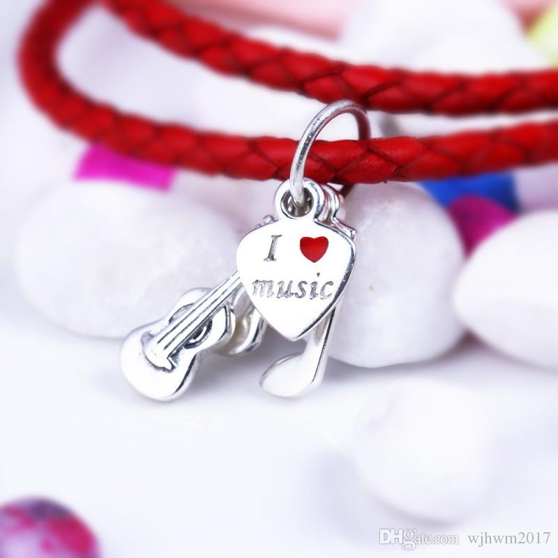 2018 New I Love Music Pendants Beads Original 925 Sterling Silver Red Enamel Love Heart Violin Beads For DIY Brand Bracelets Jewelry