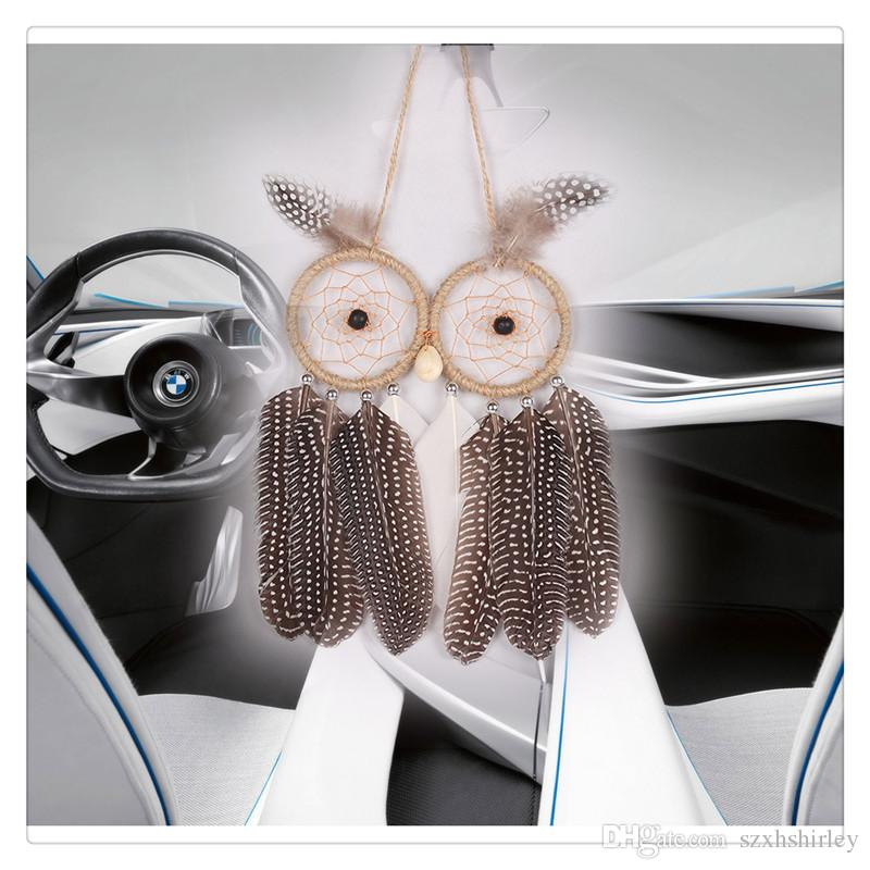Dream Catcher Wind Chimes Wall Hanging Car Hanging With Owl Feather Decoration Linen Wind Chime Hanging Home Decor Decoration