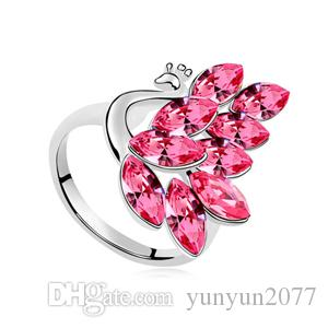 High End Luxury Fine Jewelry Accessories Austrian Crystal Peacock Queen Princess Party Cocktail Fingers Charm Wedding Bands Rings For Women