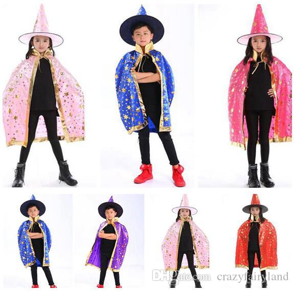 cape with hat children kids halloween costumes cosplay boy girl party pumpkin costumes clothing wizard witch chirstmas kids capes halloween decorations