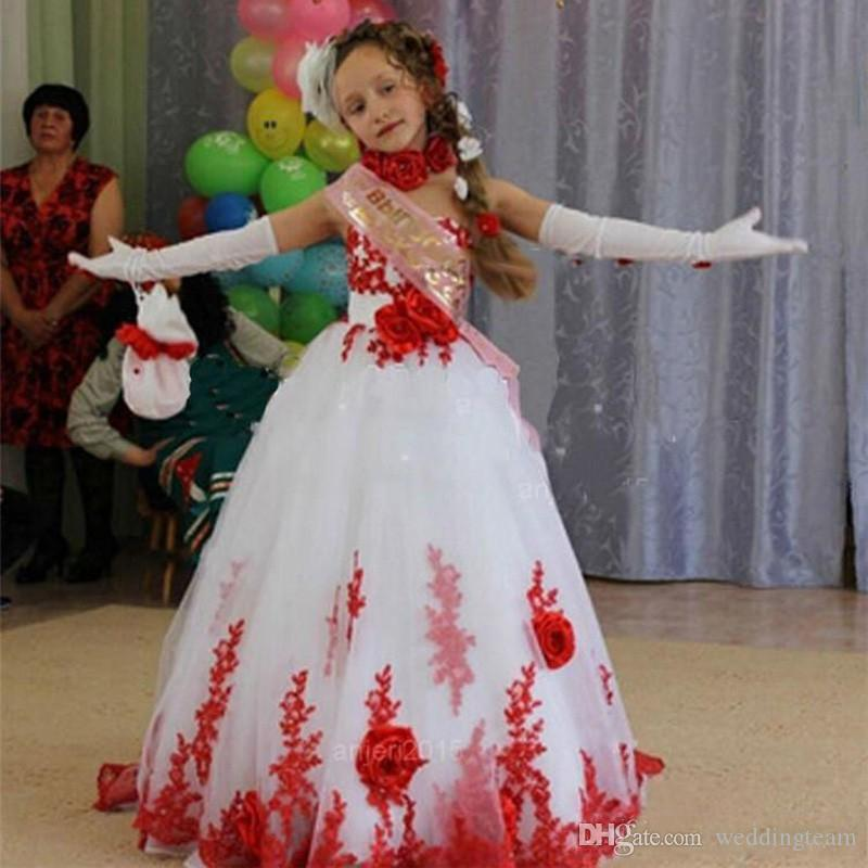 A buon mercato Rosso e bianco Una linea pizzo Appliques Pageant Abiti con fiore di mano Tulle Flower Girls Abiti Ball Gown abiti prima comunione