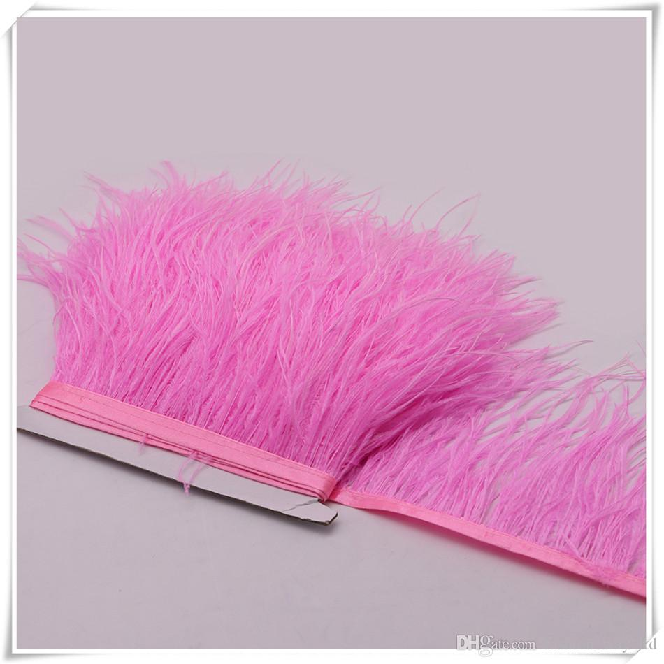 10yardsMuticolor Long Ostrich Feather Plumes Fringe trim 10-15cm Feather Boa Stripe for Party Clothing Dress skrits Accessories Craft