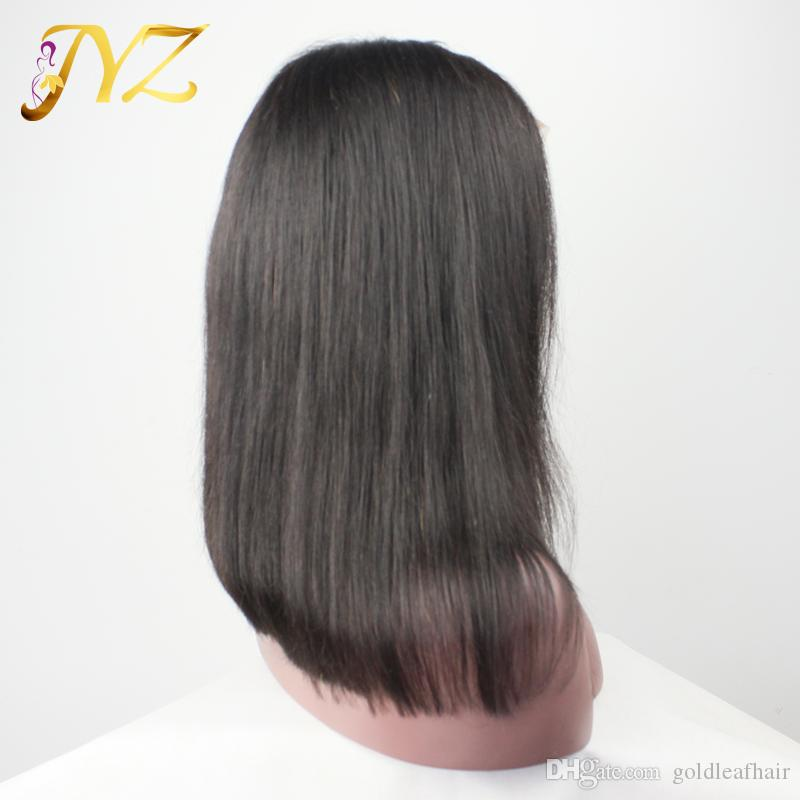 Bob Straight Human Hair Full Lace Wigs Free Part Medium Size Lace Cap Full Lace Wig With Bleached Knots