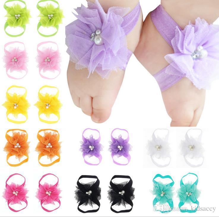 Bebek Sandalet Çiçek Ayakkabı Kapak Barefoot Ayak Dantel Çiçek Bağları Bebek Kız Çocuklar İlk Walker Ayakkabı Fotoğrafçılık Dikmeler A44 16 Renkler A44