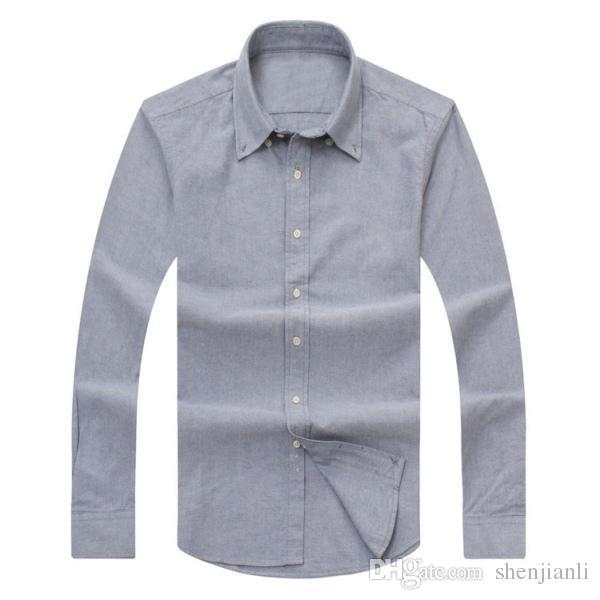 2017 novos homens de outono e inverno de manga comprida camisa de algodão puro dos homens casuais POLOshirt moda camisa Oxford social clothing lar