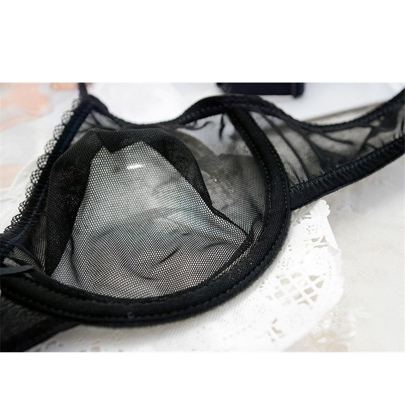 20b52eea96 2019 Black Sexy Bra Set Transparent Brassiere Gauze See Through Bra  Underwear Sets For Women Strap Erotic Lingerie Hollow Out From Fos1
