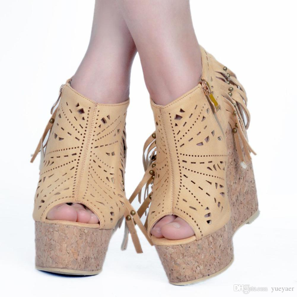 Zandina Womens Handmade Fashion Wadge High Heel Summer Sandals Fringed Peep-toe Cut-out Party Dance Dress Shoes For XD392