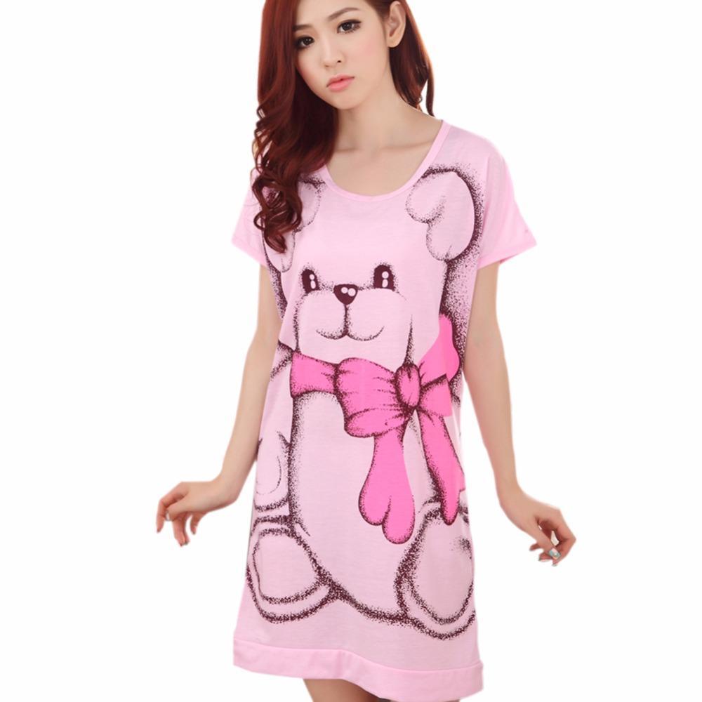 6a47fc5579 2019 Wholesale 2017 Summer Women S Nightgowns Sleeveless Short Sleeve Dress Cute  Girls Sleepwear Cartoon Bear Printed Sleepwear From Volontiers