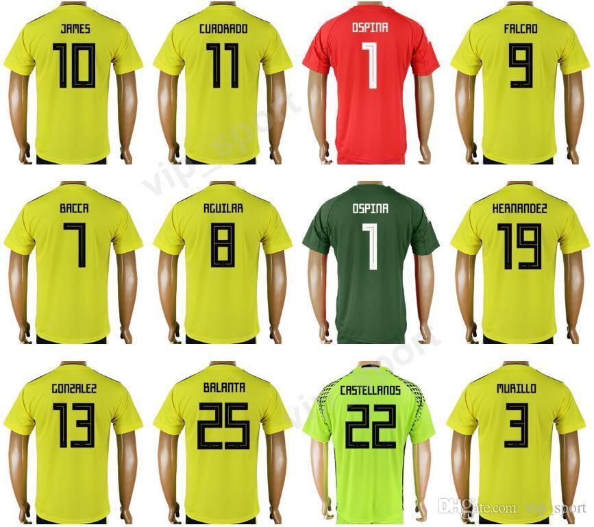 wholesale dealer e5468 82ad1 Soccer Colombia Jersey 2018 Word Cup 9 Radamel Falcao Football Shirt Kits  10 James Rodriguez 11 Juan Cuadrado 23 SANCHEZ 6 SANCHEZ 1 OSPINA