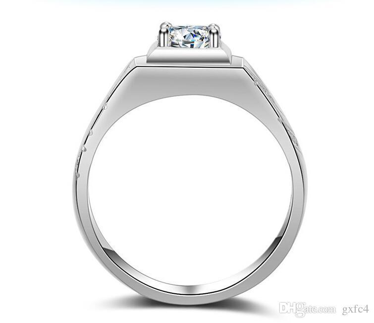 Simulierter Diamant der silbernen Runde 2019 der neuen Männer der Männer mit CZ-Seitenstein-Ring-Größe 7 - 12