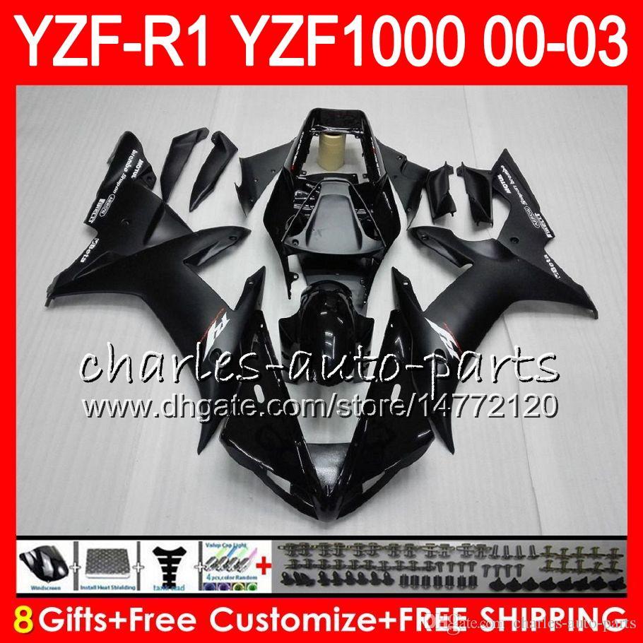 8Gift Cuerpo para YAMAHA YZF R1 YZF 1000 YZFR1 02 03 00 01 62HM13 YZF1000 R 1 negro brillante YZF-R1000 YZF-R1 2002 2003 2000 2001 Carenado