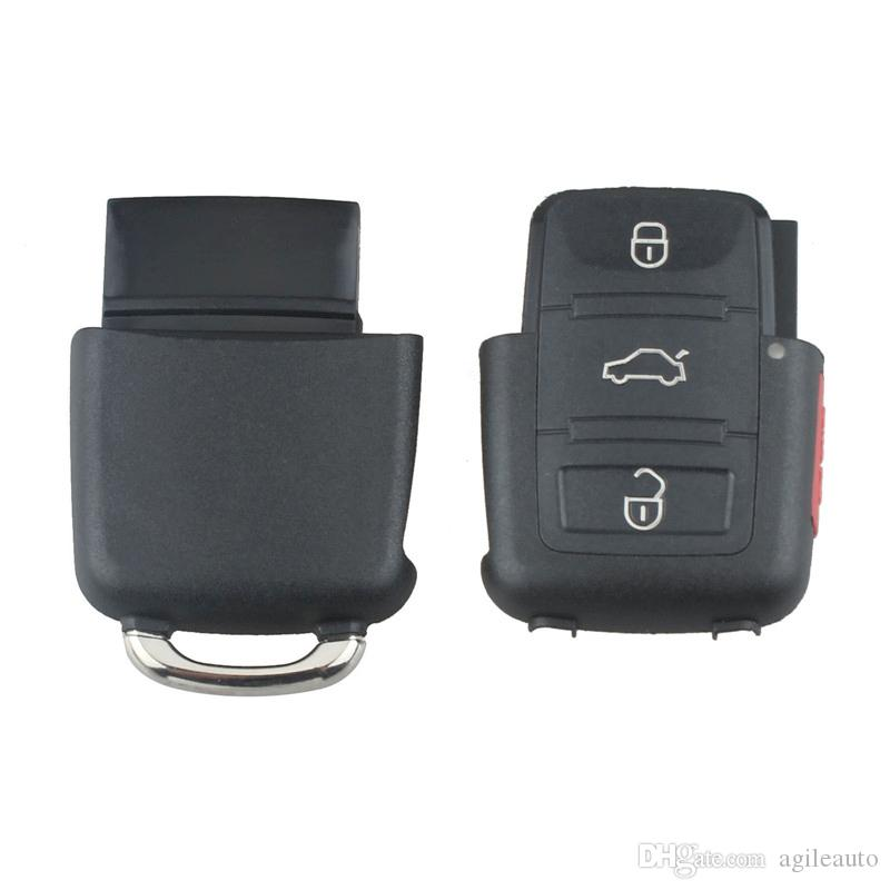 Black 4 Buttons Smart Remote Replacement Key Case No Chip with Uncut Car Flip Key for Volkswagen B5 Passat CIA_40H