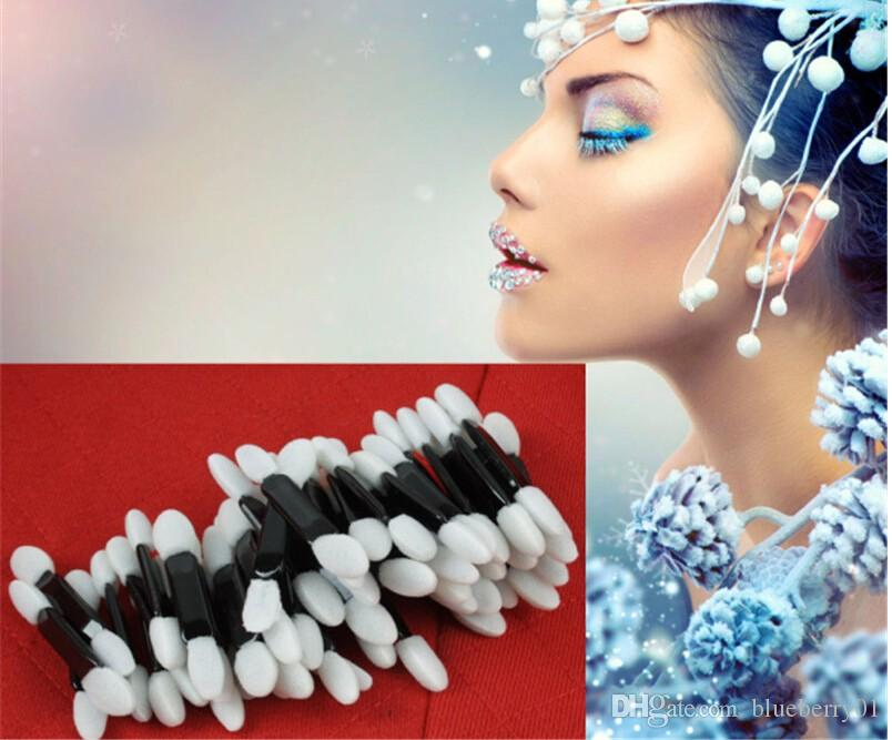 Yeni / Makyaj Mini Göz Farı Sünger Fırça Seti Aplikatör Güzellik çift fırçalar Tek Taşınabilir Göz Farı Fırçalar Kozmetik Araçları