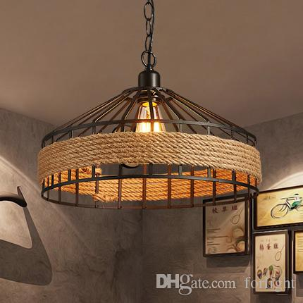 Discount Pendant Lighting Creative Hemp Rope Pendant Lights Personalized American Industrial Vintage Chandeliers Theme Restaurant Cafe Porch Club Bar Lights ... & Discount Pendant Lighting Creative Hemp Rope Pendant Lights ... azcodes.com