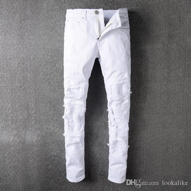 fbd41b08 White Amiri Destroyed Motorcycle Jeans Skinny Fit Scratched Plain White  Biker Jeans For Man Free Shipping Epacket