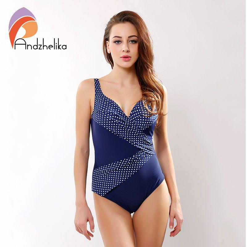 cac4f21ecf 2019 Andzhelika 2017 New One Piece Swimsuit Women Vintage Bathing Suits  Plus Size Swimwear Padded Print Polka Dot Bodysuit Swim Wear From  David2004