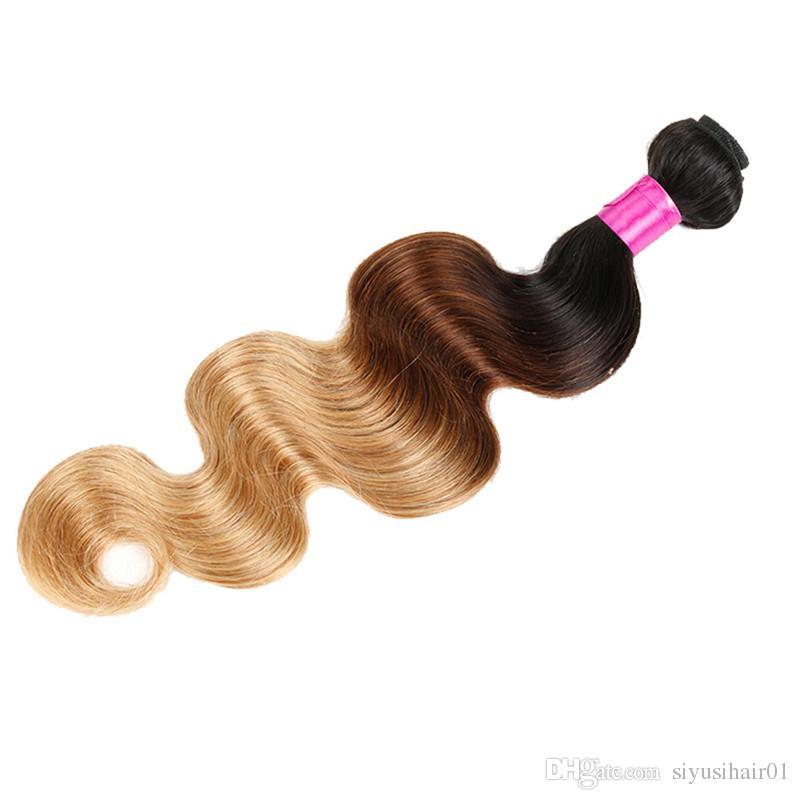 El pelo brasileño de la onda del cuerpo de los paquetes del pelo de la Virgen teje 1B / 27 1B / 4/27 1B / 99j 1B / 30 1B / Red Human Ombre Hair Extensions