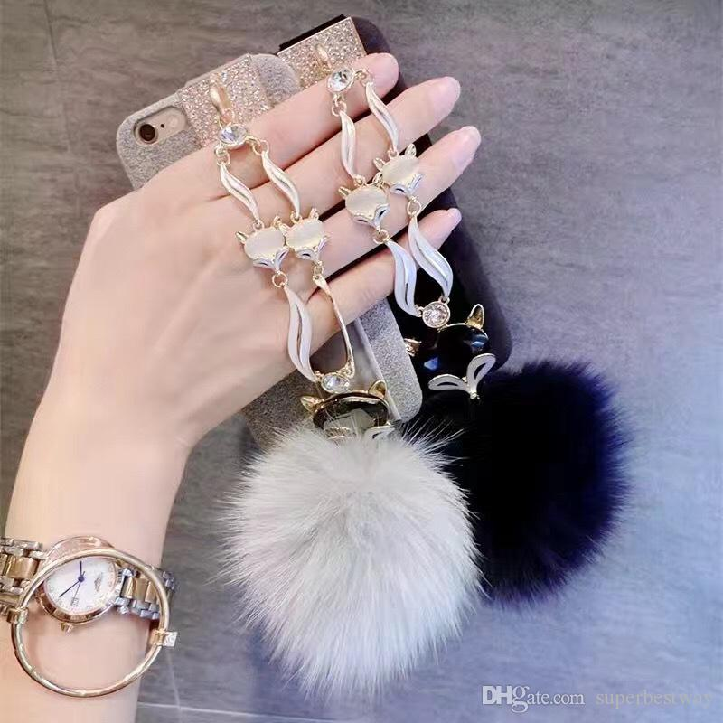 For iphone 7 6s plus Fashion Diamond Bling Rabbit Fur Hair Fox Head Case Cover For iphone7 7plus 6 SCA284