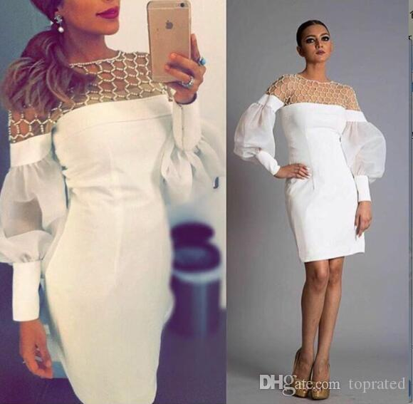 e0be0df7d5 Unique White Long Sleeve Cocktail Dresses Illusion Neckline Pearls Beading  Knee Length Chiffon 2019 Women Formal Wear Party Prom Dress Gowns Lace  Cocktail ...