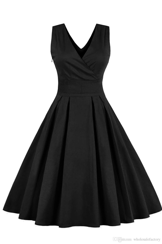 2018 Plus Size Women Dress Vintage Robe Summer Feminino Rockabilly Retro Sleeveless Summer Party Vestidos V-Neck Bow FS0494