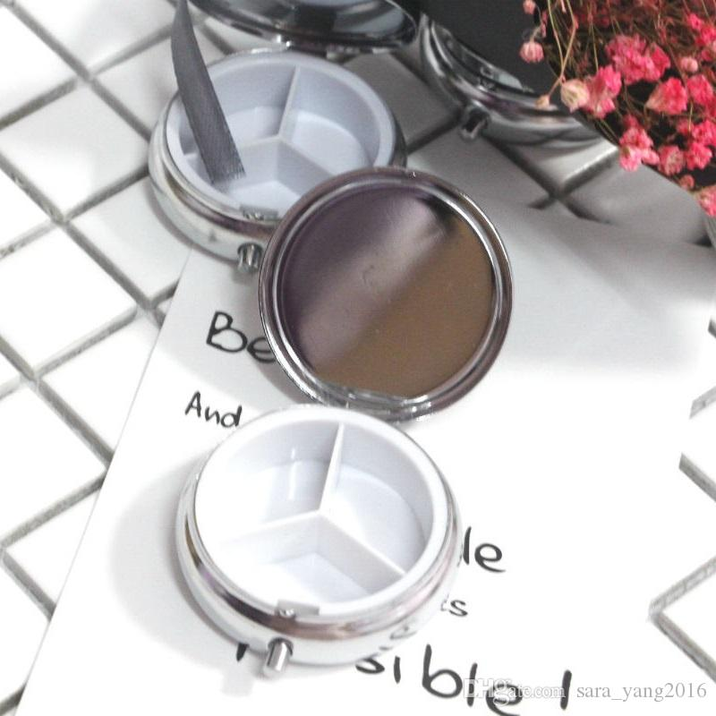 3 slots Metal Round Silver Pill Boxes portable Container Medicine Case Small Case for travel wa3917