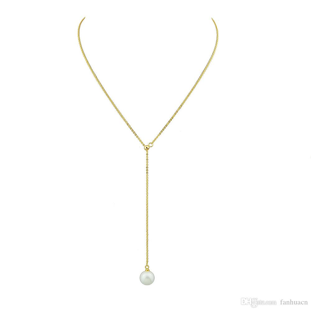 Wholesale simple model gold silver color chain y style necklace wholesale simple model gold silver color chain y style necklace design pearl pendant necklaces for women long necklaces fine jewelry from fanhuacn mozeypictures Choice Image
