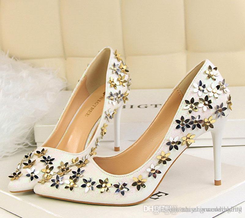 Cinderella Wedding Shoes 2017 Gold/Silver Sequined High Heel ...