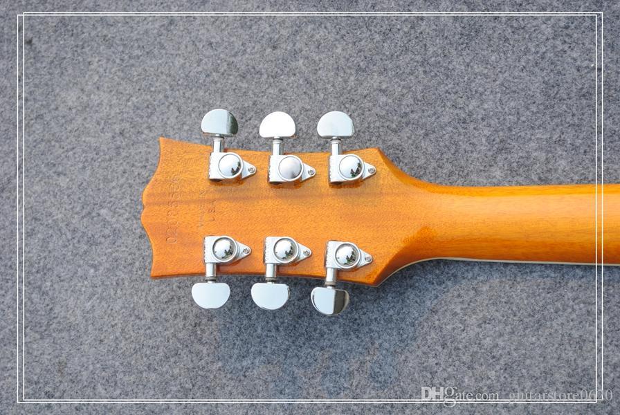 Новый стиль пользовательский магазин 1958 Альпийский желтый sunburst черное дерево электрогитара фарфора гитара